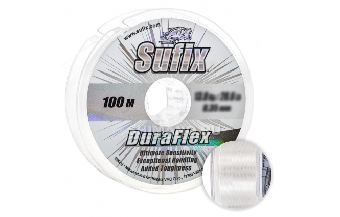 Леска SUFIX DURAFLEX 100м. 0.30мм. CLEAR фото №1