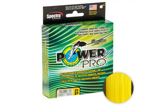 Плетеный шнур Power Pro Hi-vis Yellow 275м. 0.32мм. фото №1