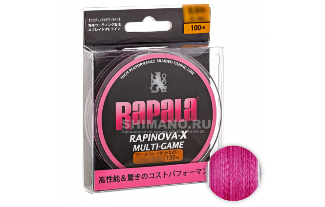 Плетеный шнур RAPALA RAPINOVA-X MULTI GAME 100м. 0.4PE PINK фото №1