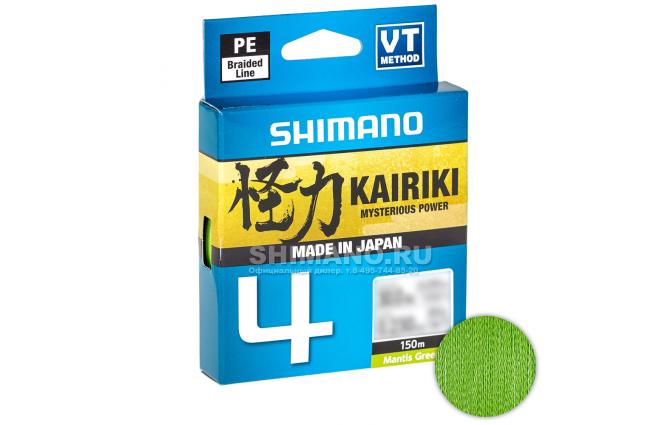 Плетеный шнур Shimano Kairiki X4 150м. 0.28мм. GREEN фото №1