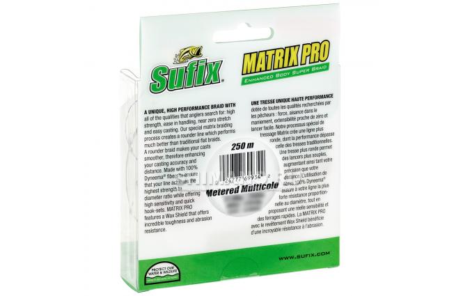 Плетеный шнур Sufix Matrix Pro Wax Shield 250м. 0.30мм. MULTICOLOR фото №2