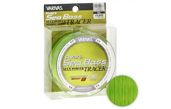 Плетеный шнур VARIVAS AVANI SEA BASS MAX TRACER 150м. 0.8PE GREEN фото №1